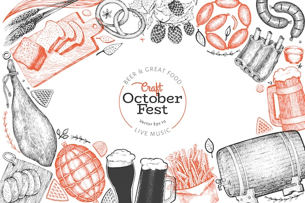 Octoberfest design template. vector hand drawn illustrations. greeting beer festival card in retro style. Premium Vector