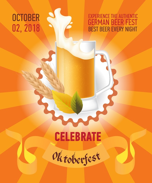 Octoberfest festive orange poster design Free Vector