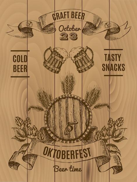 Октоберфест старинный плакат с пивной бочкой и кружкой хмеля и ячменя на деревянных досках Бесплатные векторы