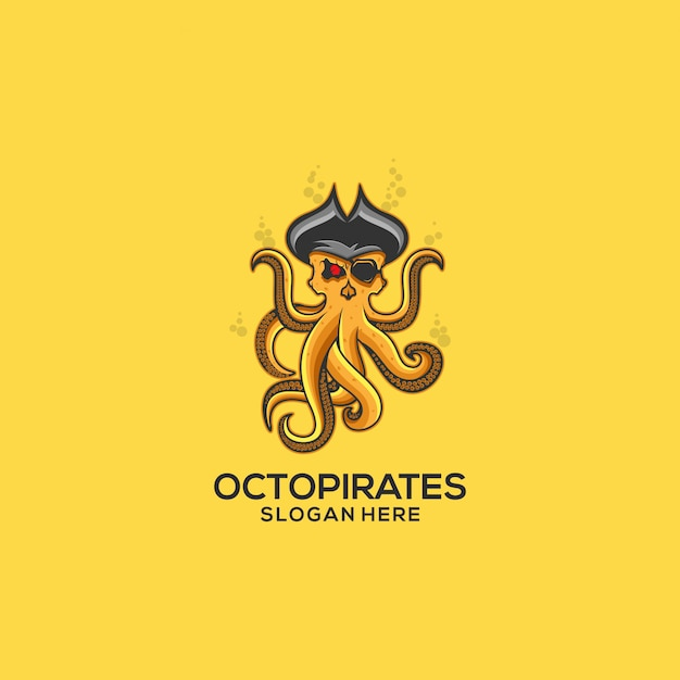 Octopus pirates logo Premiumベクター