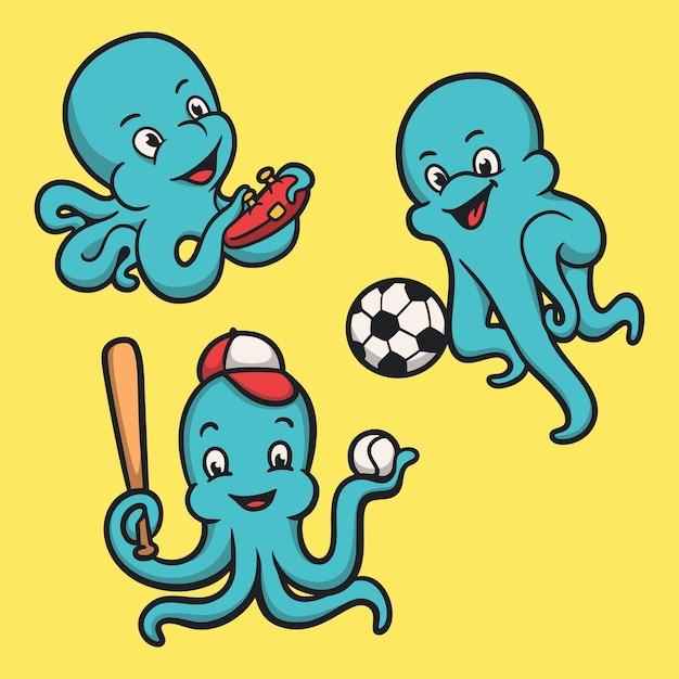 タコ遊びゲーム、ボールと野球の動物のロゴのマスコットイラストパック Premiumベクター