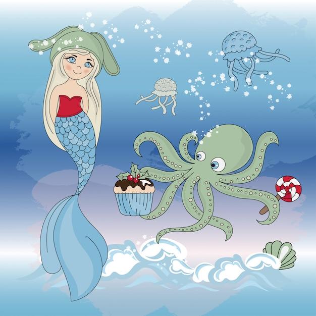 Octopus regale mermaidニューイヤーカラーイラストセット Premiumベクター