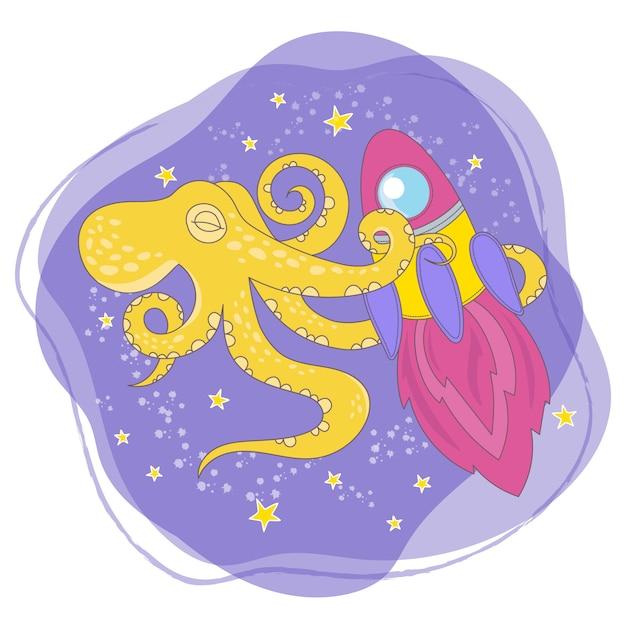 Octopus rocket cartoon space animal Premium Vector