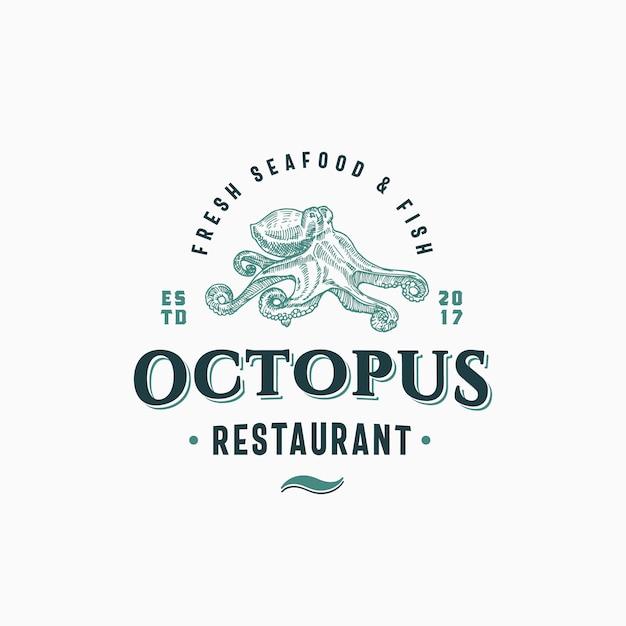 Осьминог из морепродуктов и рыбный ресторан абстрактный знак, символ или шаблон логотипа. ручной обращается осьминог с классной ретро типографикой. винтажная эмблема. изолированные. Premium векторы