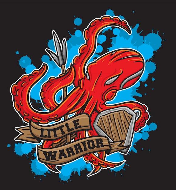 Octopus warrior Premium Vector