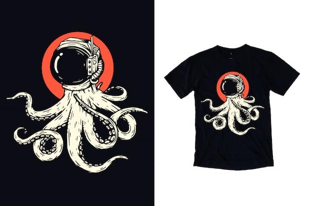 Tシャツデザインの宇宙飛行士ヘルメットイラストとタコ Premiumベクター