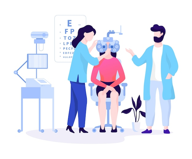 Oculist concept. idea of eyesight examination and medical treatment. ophthalmologist check patient.   illustration Premium Vector
