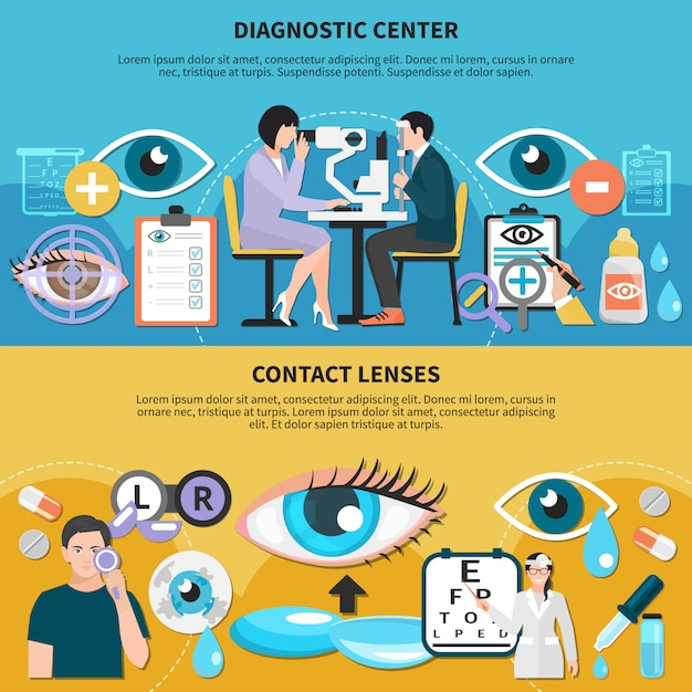 Oculist eye care banners Free Vector