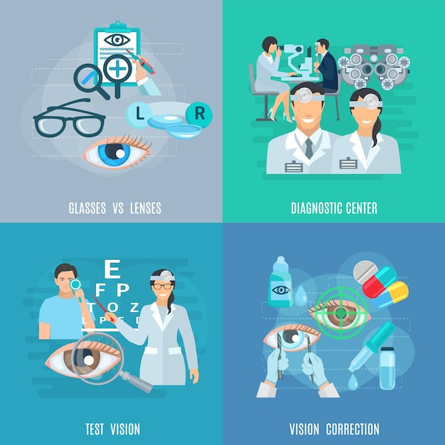 Oculist ophthalmologist flat icons square Free Vector