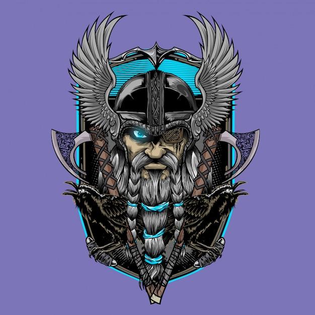 Odin god og asgard Premium Vector