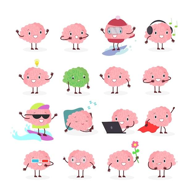 脳の絵文字、さまざまな位置や感情の感情の脳のキャラクター、ブレーンストーミングセット Premiumベクター