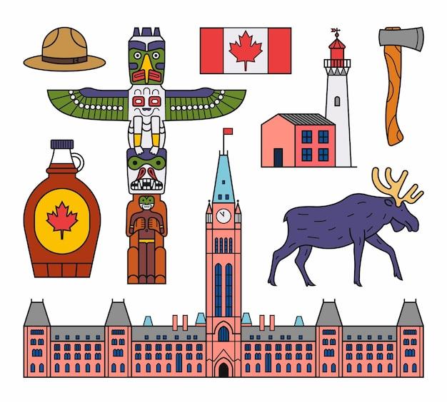 Канады. набор иконок наброски. белый фон. флаг, индийский тотем, шляпа, люк, топор, кленовый сироп, лось, парламент. Premium векторы