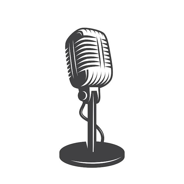 Изолированных ретро, старинный микрофон. Бесплатные векторы
