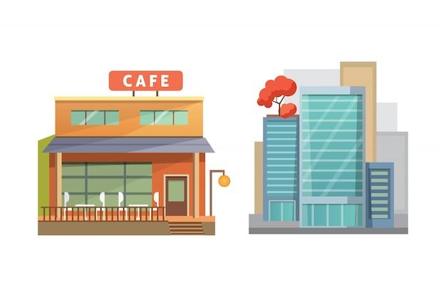 レトロでモダンな都市住宅。古い建物、高層ビル。カラフルなコテージの建物、カフェの家。 Premiumベクター