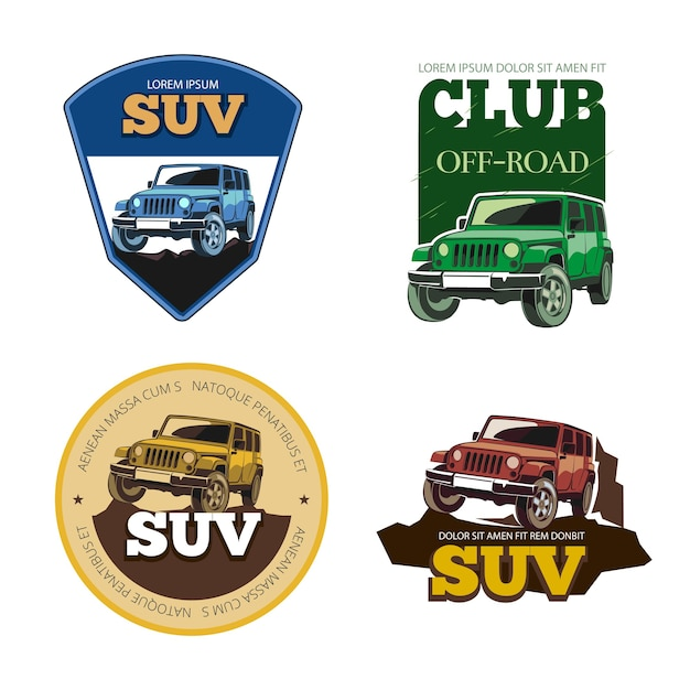 Off-road car vector emblems, labels and logos. transport vehicle, transportation auto motor speed illustration Free Vector