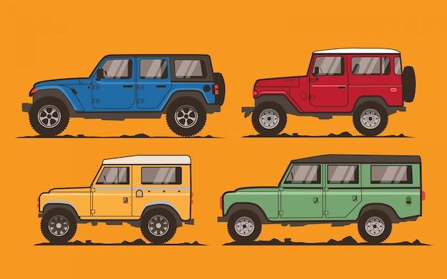 Off road cars illustration Premium Vector