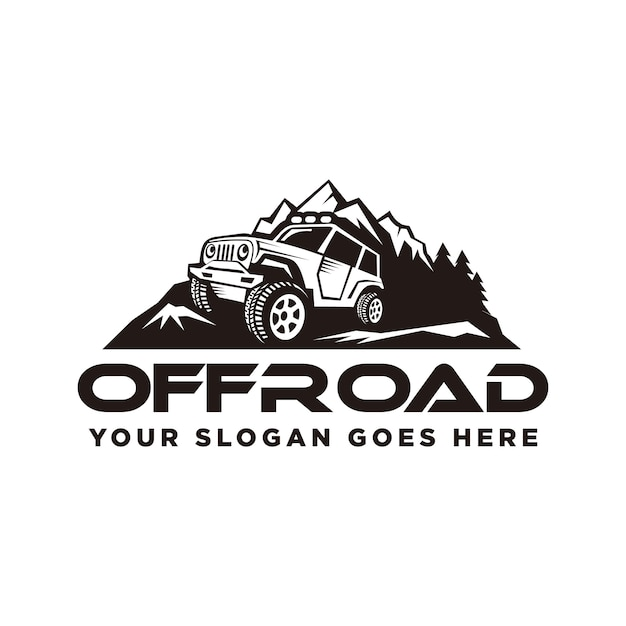 Off road logo, off road adventures Premium Vector