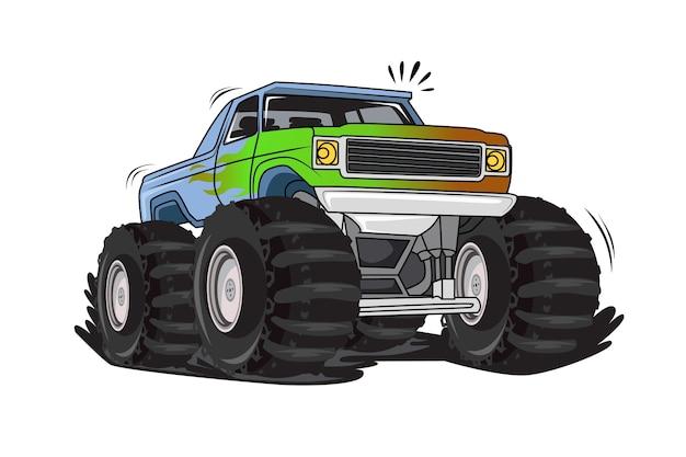 Off road monster truck illustration vector Premium Vector