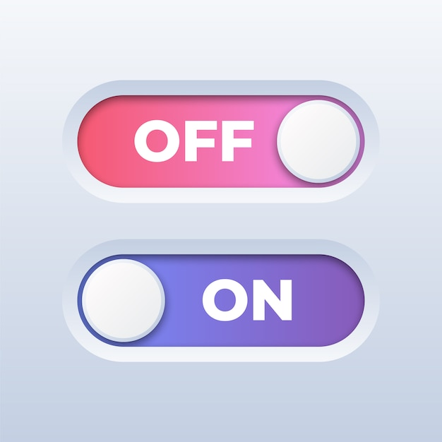 On and off toggle switch button on white Premium Vector