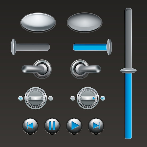 On off touch analog buttons and toggles set Free Vector