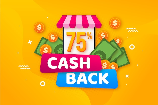 Offer for cashback concept theme Free Vector