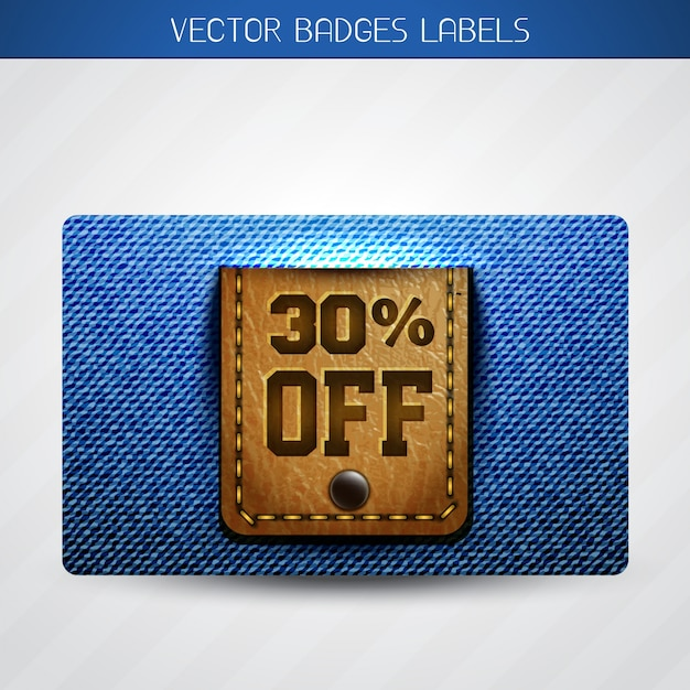 Offer label of leather and jeans Premium Vector