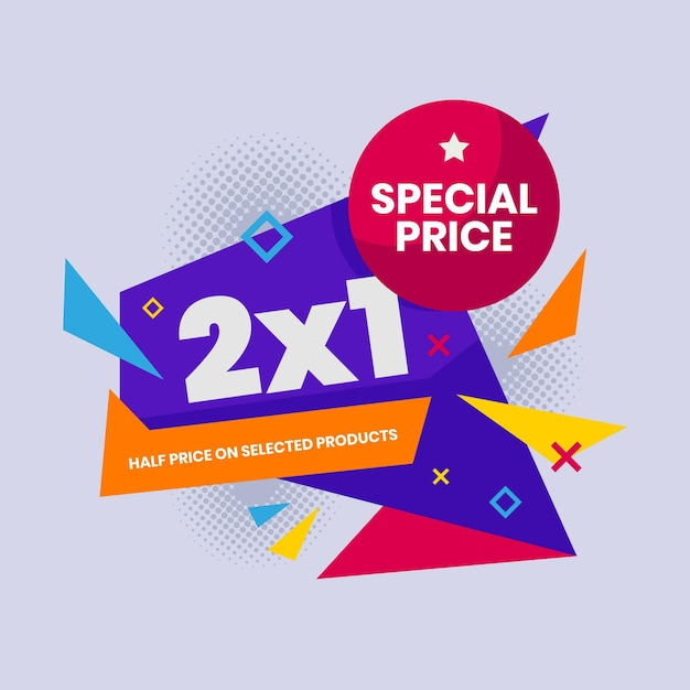 Offer promotion squared banner Free Vector