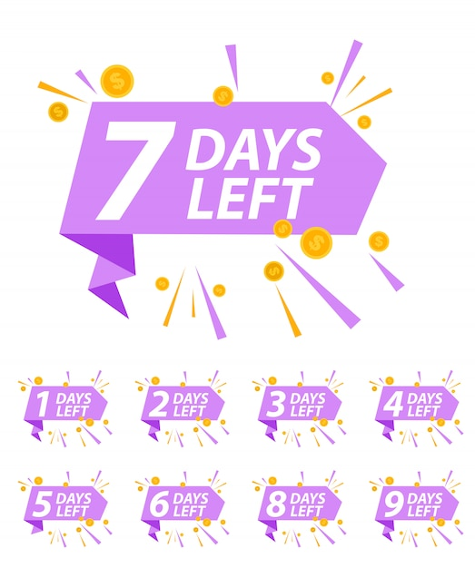 Offer sale business sign with days left collection set.  illustration Premium Vector
