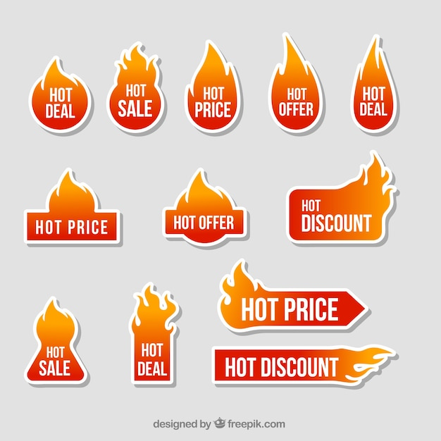 Offers fire sticker collection Free Vector