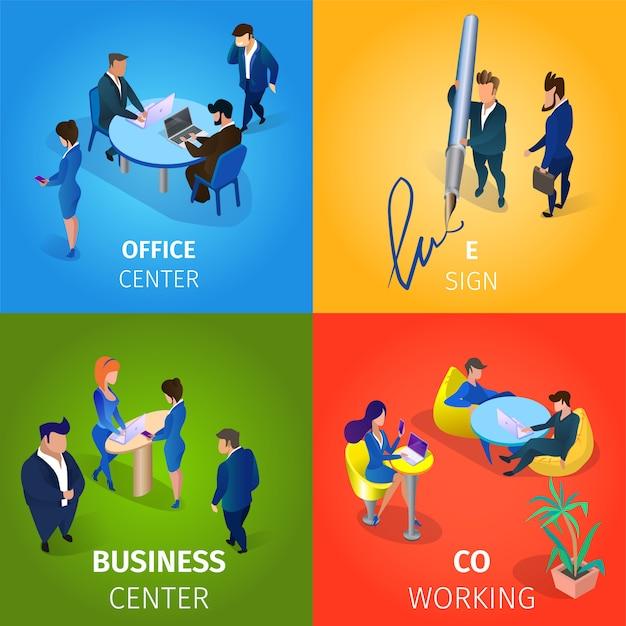 Офис и бизнес-центр, e-sign, коворкинг set. Бесплатные векторы
