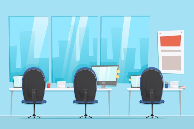 Офис - фон для видеоконференций Бесплатные векторы