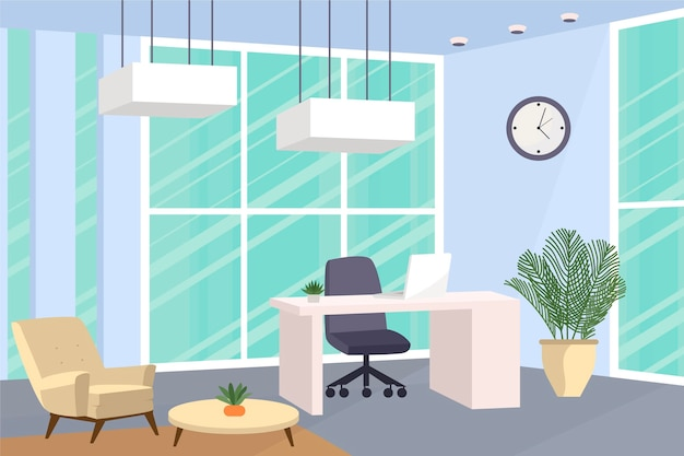 Office background for video calls Free Vector