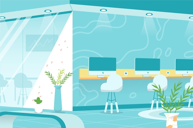 Office background for video conference Free Vector