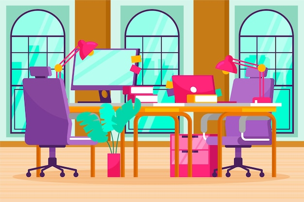 Office background for video conferencing Free Vector