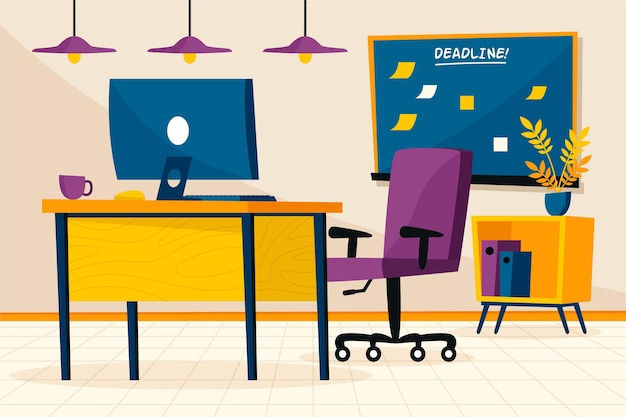 Office background video conferencing Free Vector