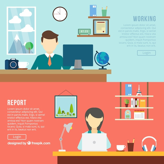 Office banners Free Vector