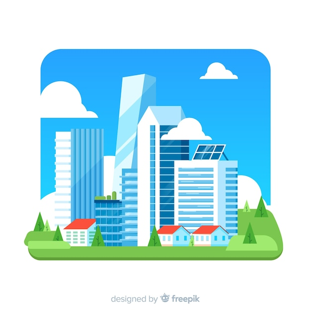 Office Building Background In Flat Design Vector Free Download