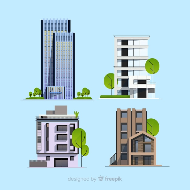 Office building collectio Free Vector
