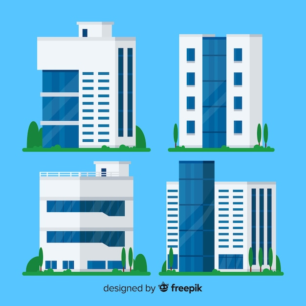 Office building collection Free Vector