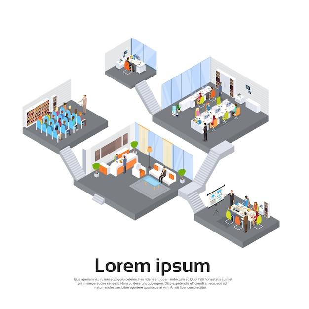 Office building interior isometric 3d Premium Vector