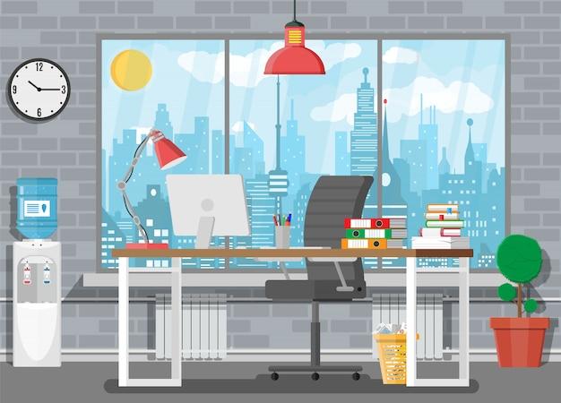 Интерьер офисного здания. Premium векторы