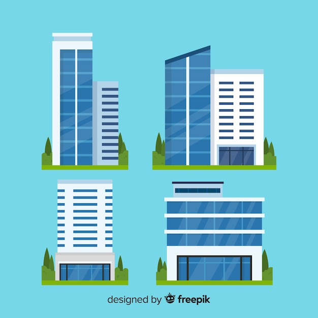 Office building set Free Vector