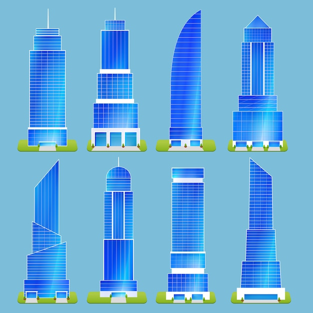 Office buildings set Free Vector