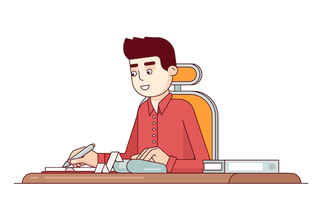 Office business clerk making expense\ calculations