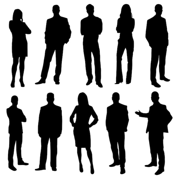 Office business people silhouettes Premium Vector
