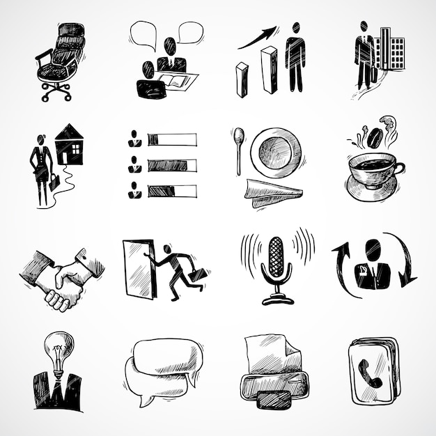 Office business sketch icons set with tea cup\ handshake chart isolated vector illustration