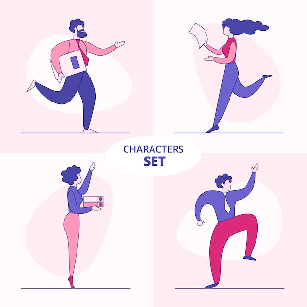 Office businesspeople characters flat vector set Premium Vector