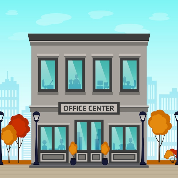 Office center building Free Vector