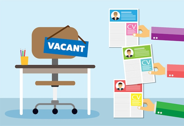Office chair and sign vacancy in hand of boss Premium Vector