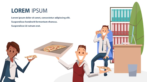 Office character with pizza lunch time banner Premium Vector